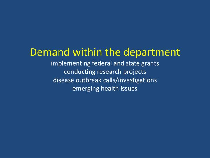 Demand within the department
