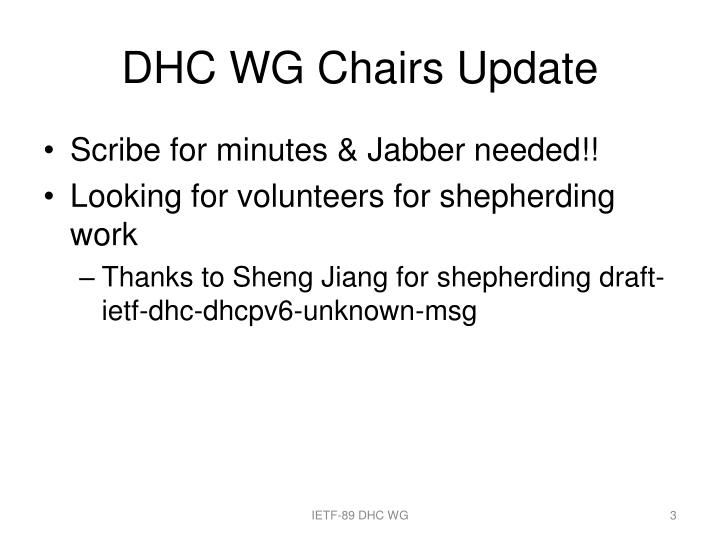 Dhc wg chairs update