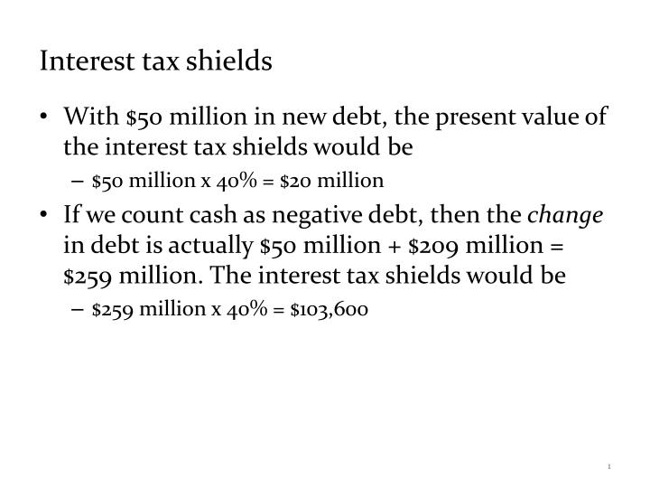 interest tax shield mean to the financial success of a firm Chapter 16: financial distress, managerial incentives  bankruptcy simply means that bondholders take over the firm = present value of interest tax shield.