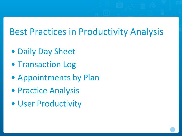Best Practices in Productivity Analysis