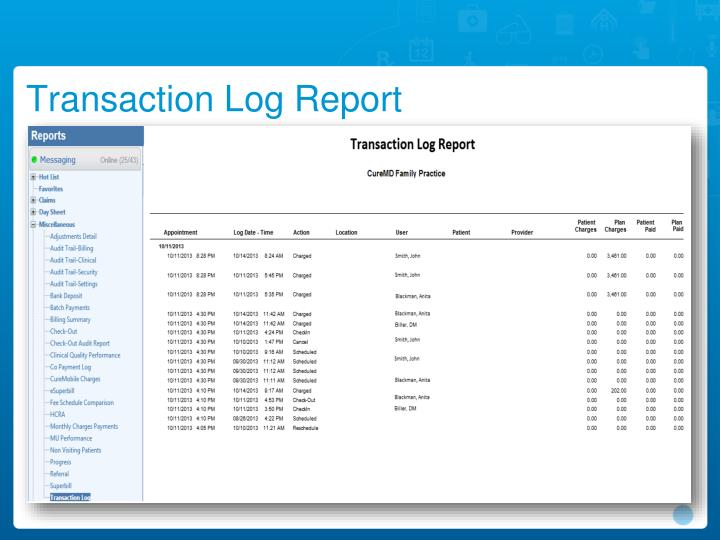Transaction Log Report