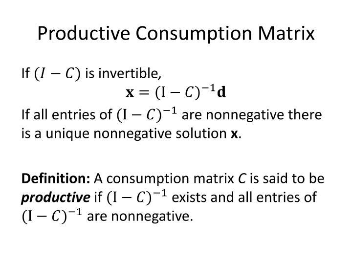 Productive Consumption Matrix