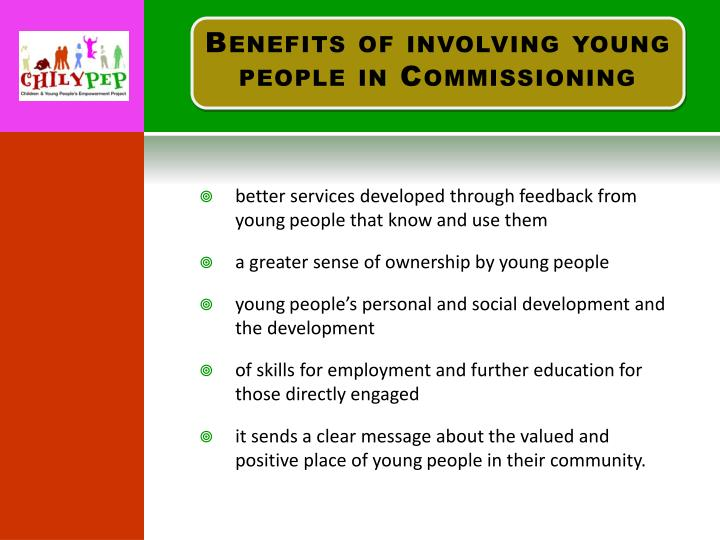 Benefits of involving young people in Commissioning