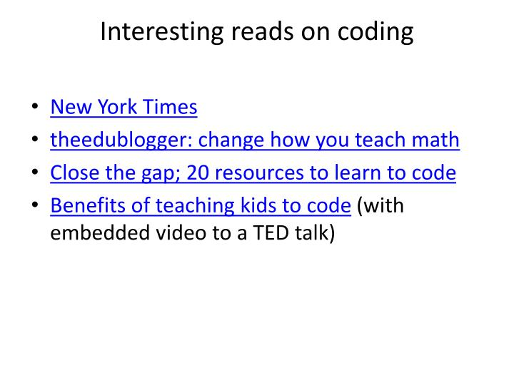 Interesting reads on coding