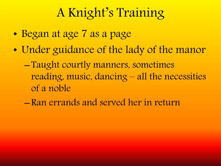 A Knight's Training