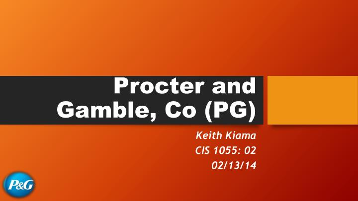 Procter and gamble co pg