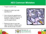 ae3 common mistakes