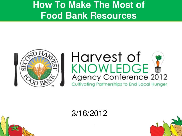 how to make the most of food bank resources n.