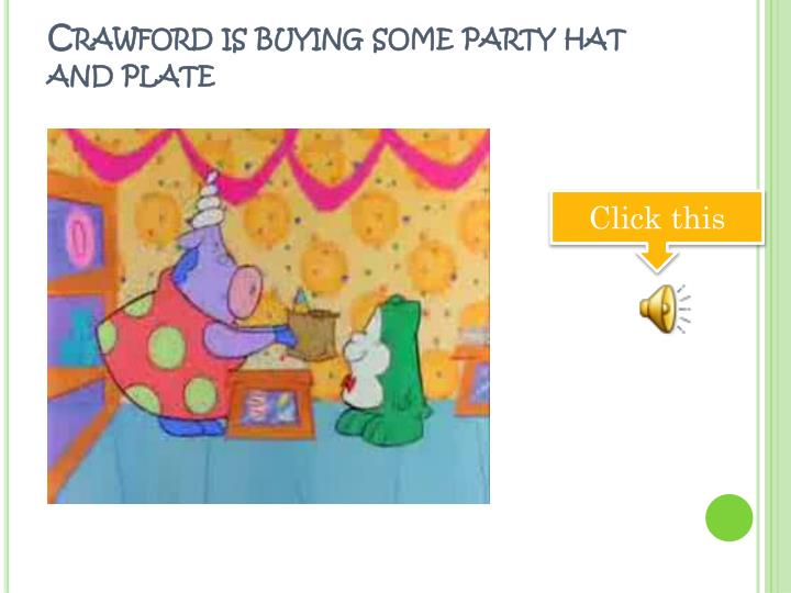 Crawford is buying some party hat and plate