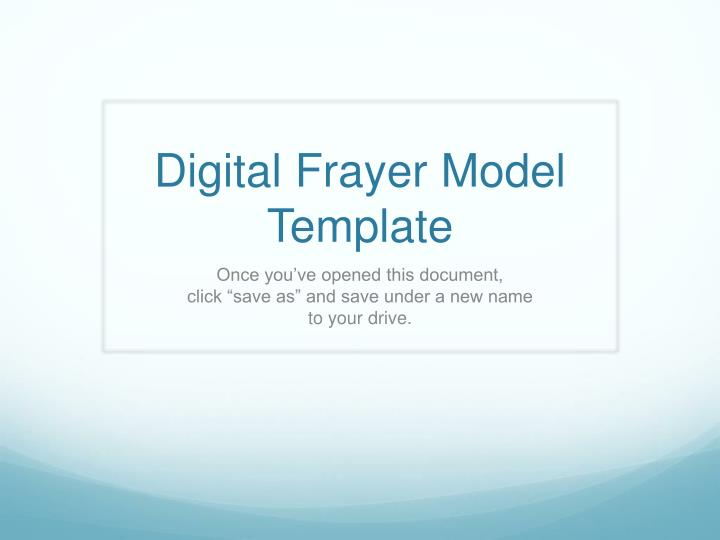 Ppt  Digital Frayer Model Template Powerpoint Presentation  Id