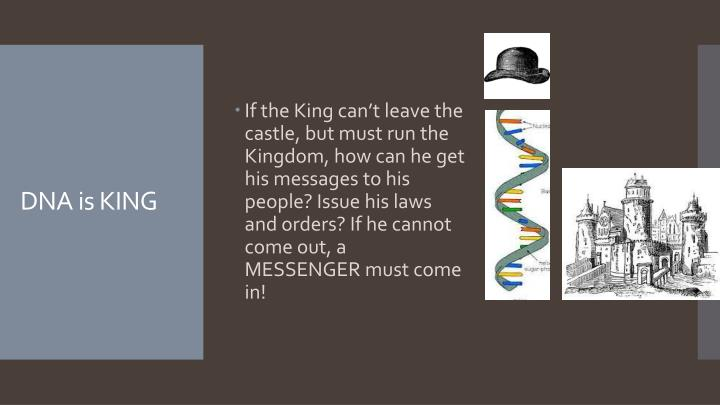 If the King can't leave the castle, but must run the Kingdom, how can he get his messages to his people? Issue his laws and orders? If he cannot come out, a MESSENGER must come in!