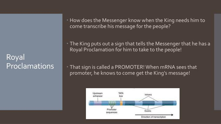 How does the Messenger know when the King needs him to come transcribe his message for the people?