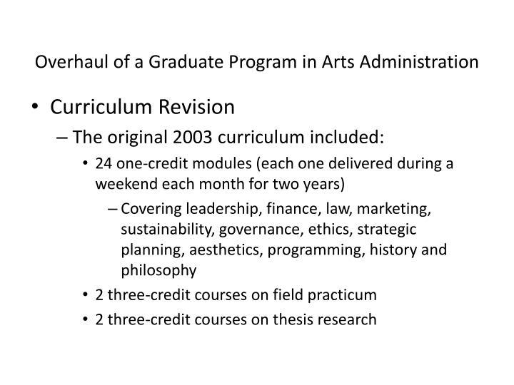 Overhaul of a Graduate Program in Arts Administration