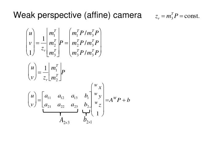Weak perspective (affine) camera