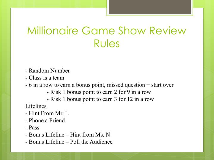 millionaire game show review rules n.