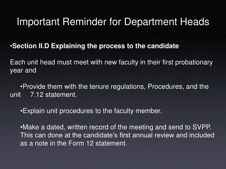 Important Reminder for Department Heads