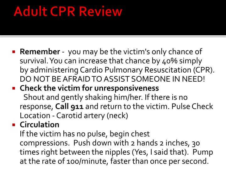 Adult CPR Review