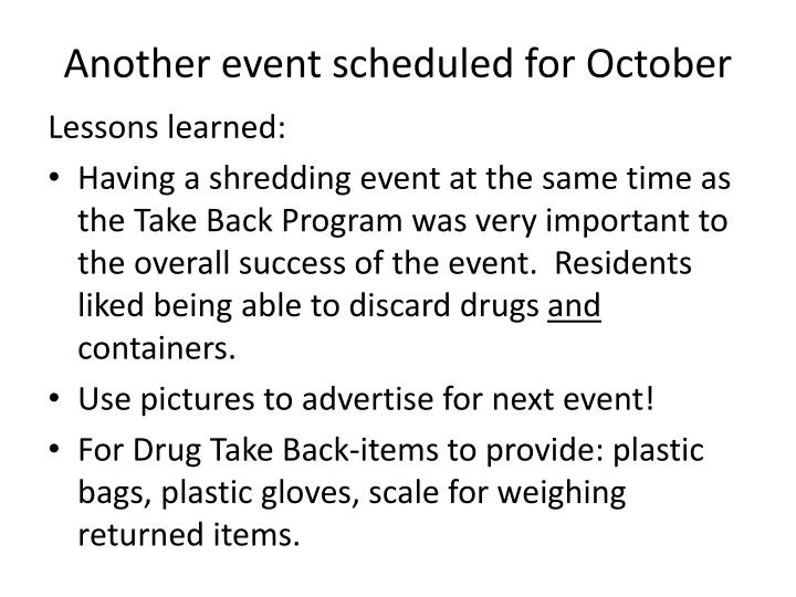Another event scheduled for October