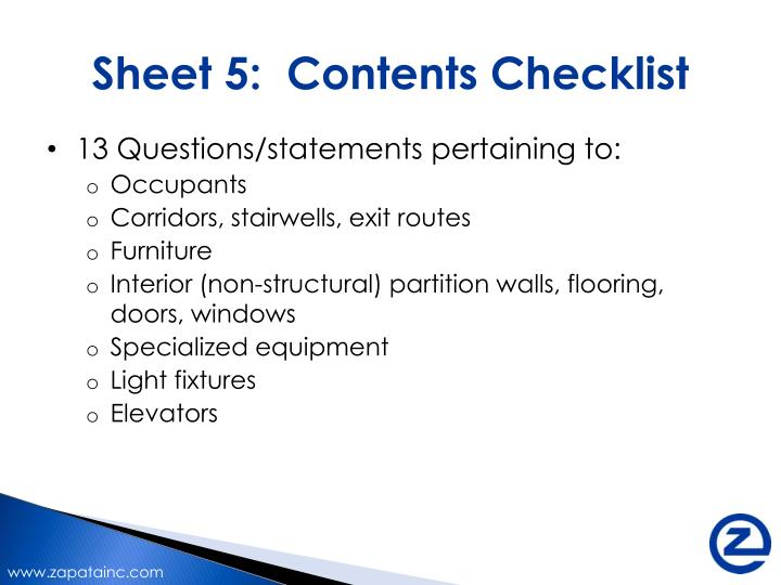 Sheet 5:  Contents Checklist