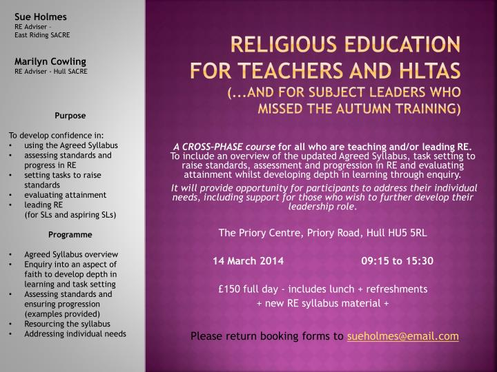 religious education for teachers and hltas and for subject leaders who missed the autumn training