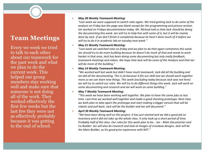 May 28 Weekly Teamwork Meeting: