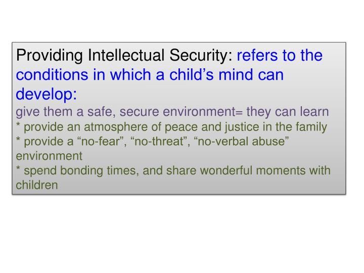 Providing Intellectual Security: