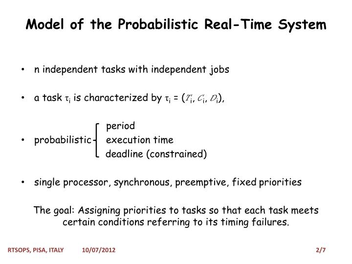 Model of the probabilistic real time system