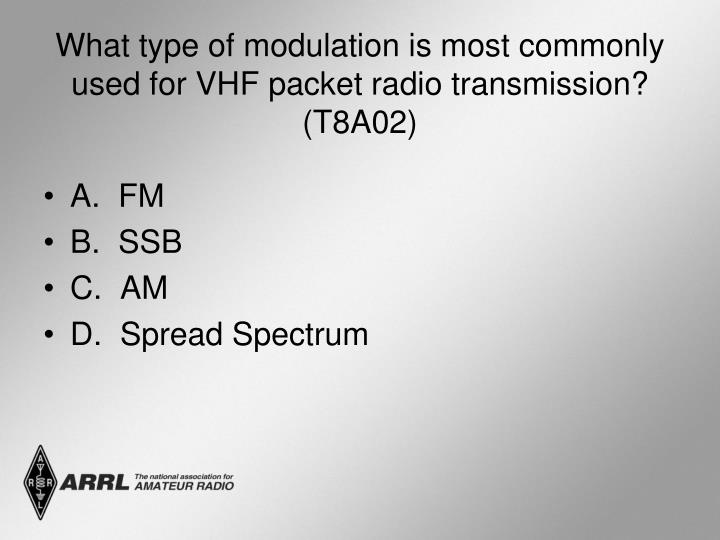 What type of modulation is most commonly used for VHF packet radio transmission? (T8A02)