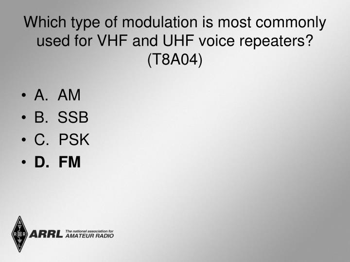 Which type of modulation is most commonly used for VHF and UHF voice repeaters? (T8A04)