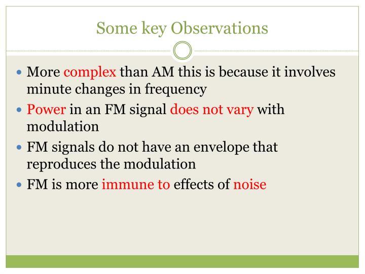 Some key Observations