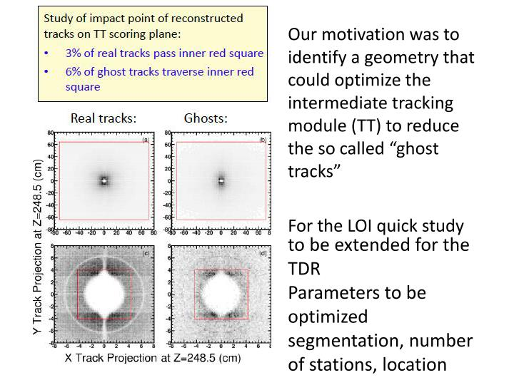 "Our motivation was to identify a geometry that could optimize the intermediate tracking module (TT) to reduce the so called ""ghost tracks"""