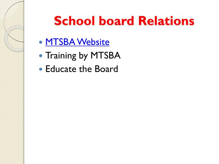 School board Relations