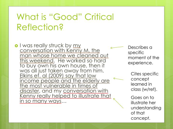 ppt - critical reflection powerpoint presentation