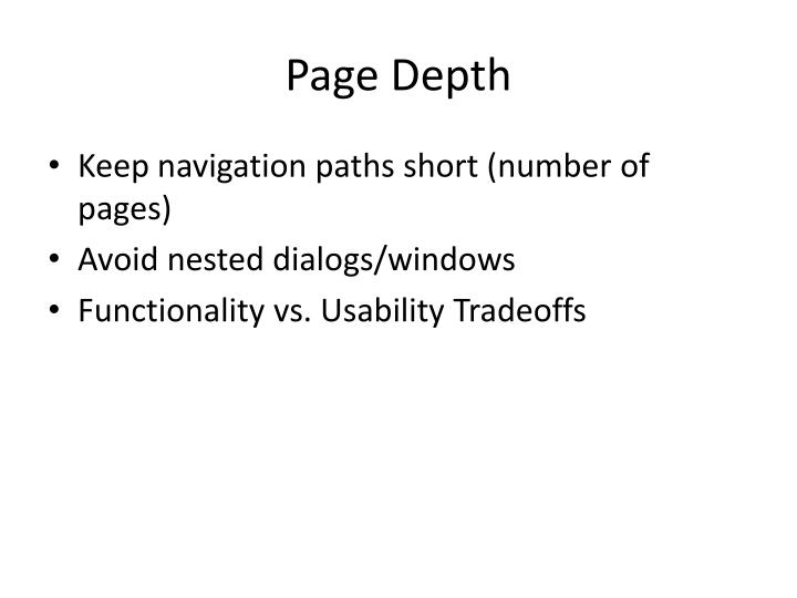 Page depth