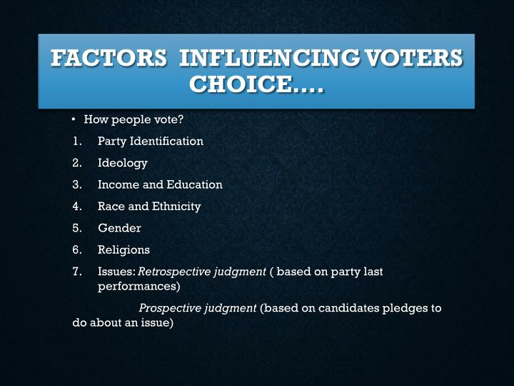 Factors  influencing voters choice….