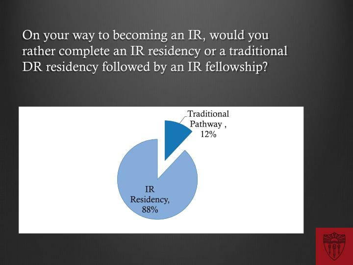 On your way to becoming an IR, would you rather complete an IR residency or a traditional DR residency followed by an IR fellowship?