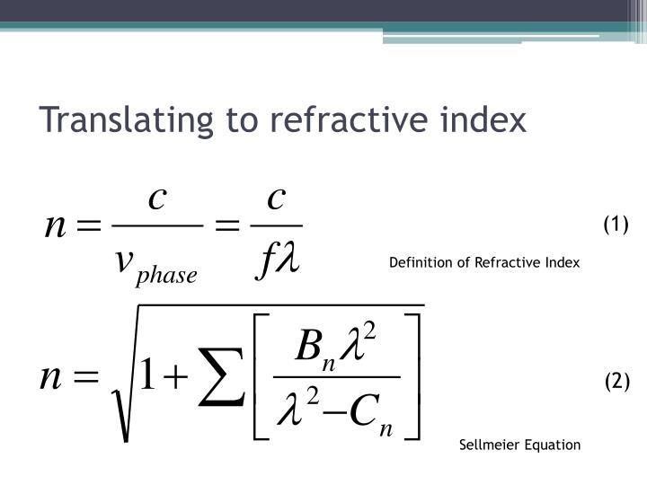 Translating to refractive index