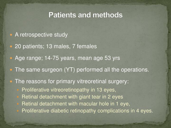 Patient s and methods