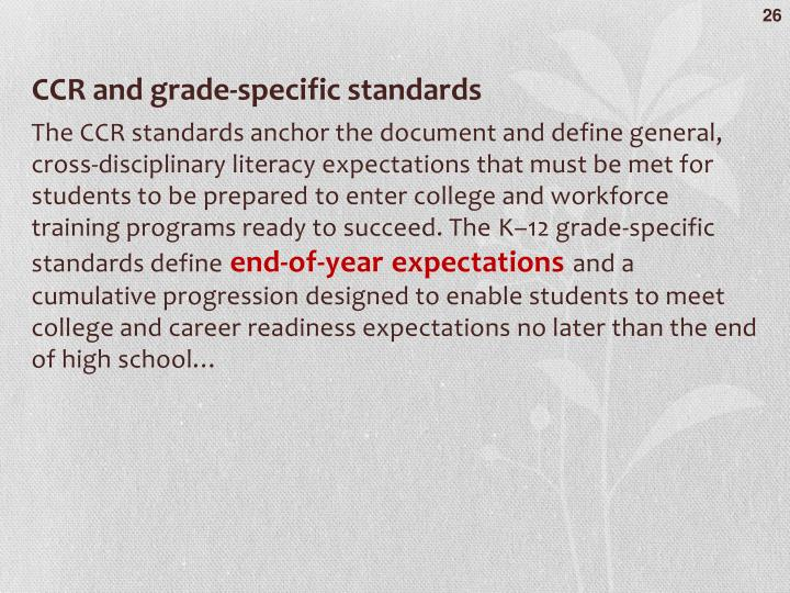 CCR and grade-specific standards
