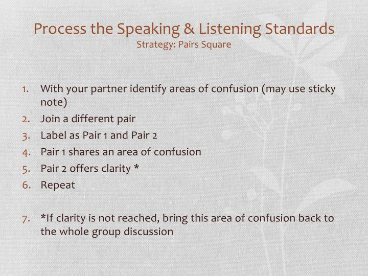 Process the Speaking & Listening Standards