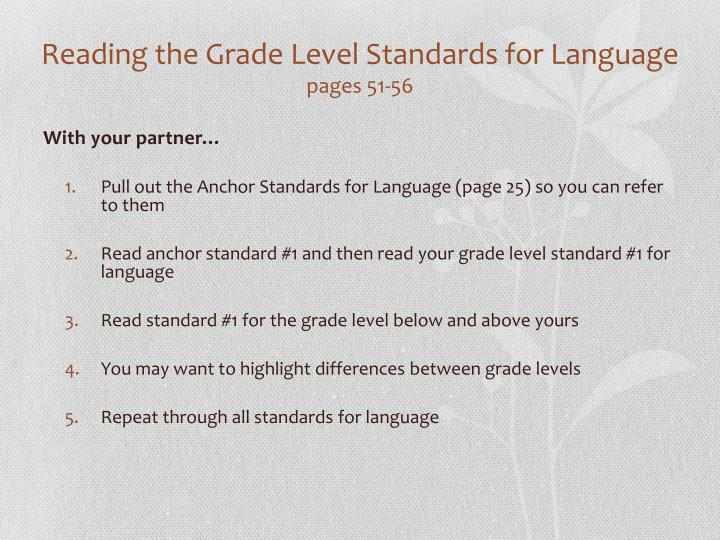 Reading the Grade Level Standards for Language