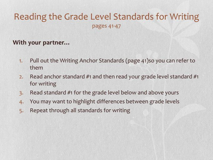 Reading the Grade Level Standards for Writing
