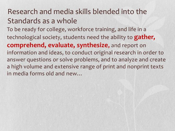 Research and media skills blended into the Standards as a whole