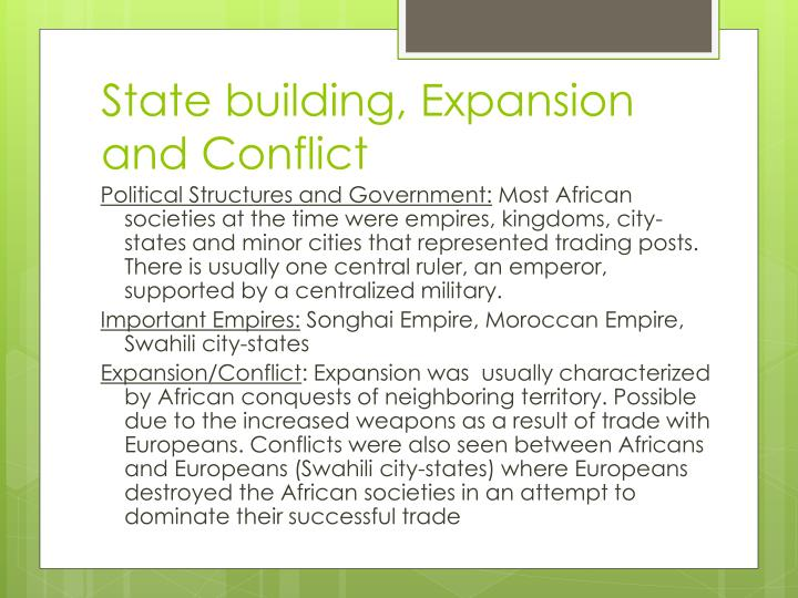 What Is Political State Building Expansion And Conflict