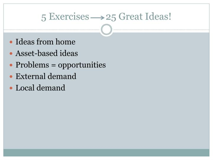 5 exercises 25 great ideas