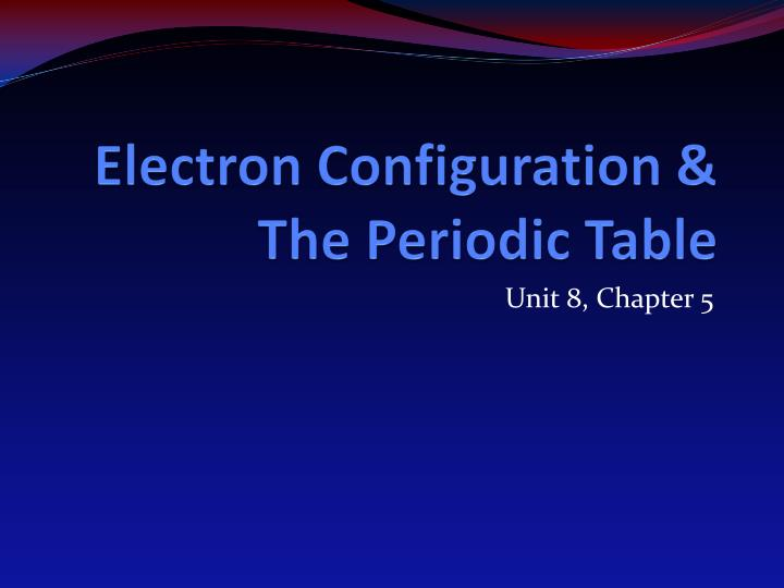 electron configuration the periodic table n.