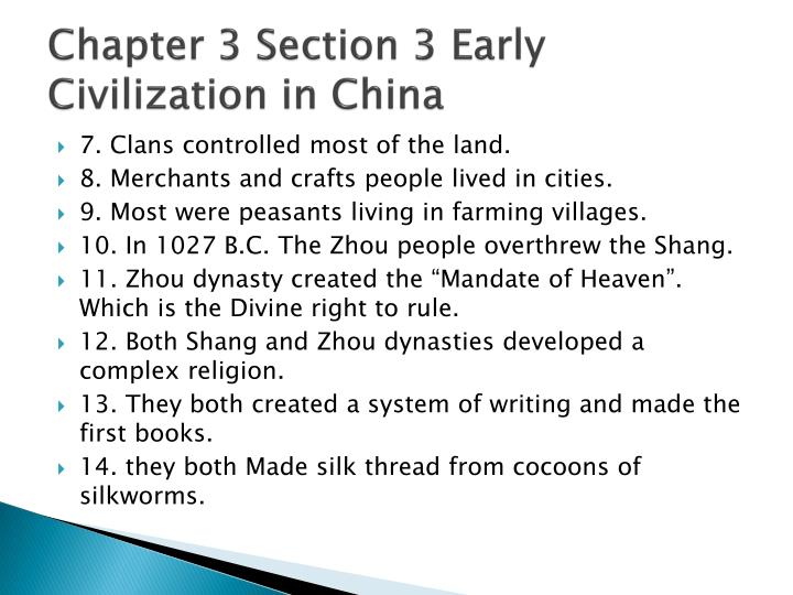 Chapter 3 section 3 early civilization in china