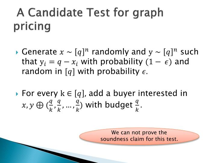 A Candidate Test for graph pricing