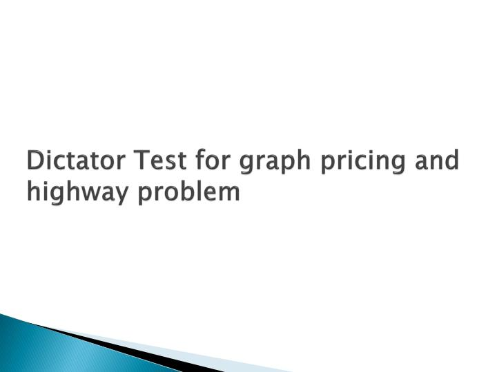 Dictator Test for graph pricing and highway problem