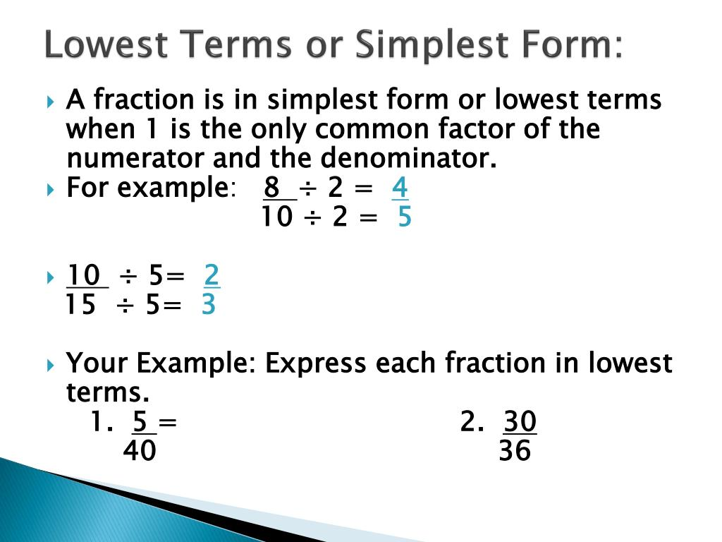 simplest form 4/10  PPT - Equivalent Fractions and Lowest Terms PowerPoint ...